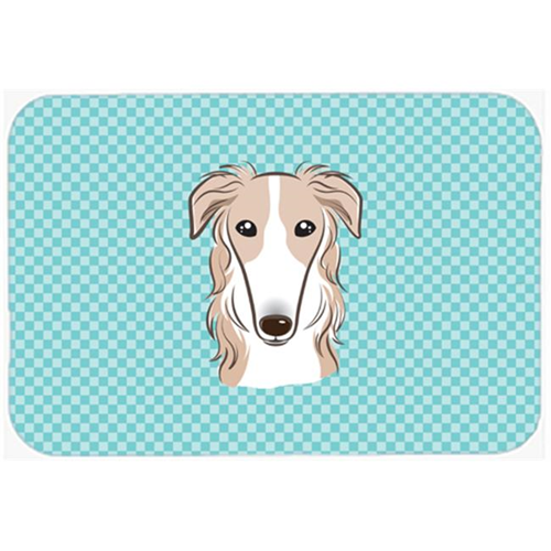 Carolines Treasures BB1166MP Checkerboard Blue Borzoi Mouse Pad Hot Pad Or Trivet 7.75 x 9.25 In.