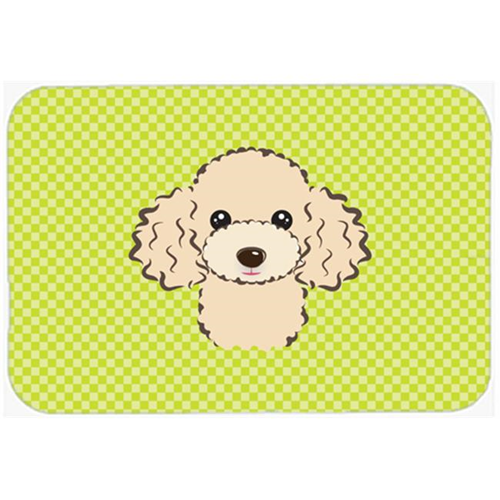 Carolines Treasures BB1320MP Checkerboard Lime Green Buff Poodle Mouse Pad Hot Pad Or Trivet 7.75 x 9.25 In.