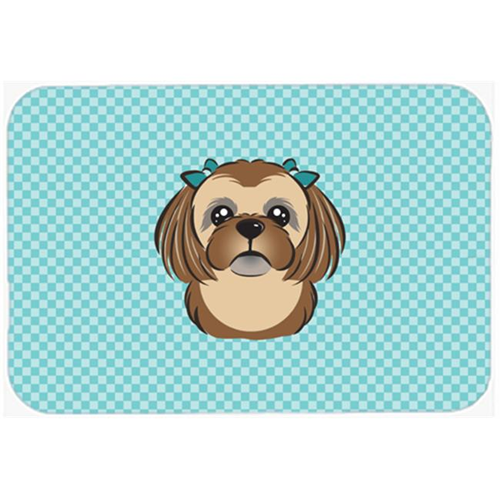 Carolines Treasures BB1187MP Checkerboard Blue Chocolate Brown Shih Tzu Mouse Pad Hot Pad Or Trivet 7.75 x 9.25 In.