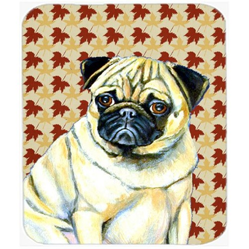 Carolines Treasures LH9117MP Pug Fall Leaves Portrait Mouse Pad Hot Pad or Trivet
