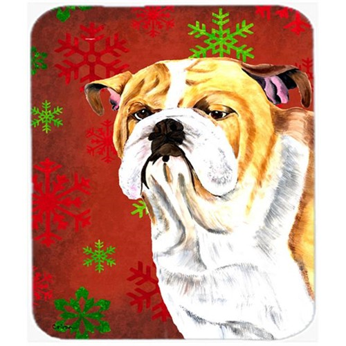 Carolines Treasures SC9414MP Bulldog English Red And Green Snowflakes Christmas Mouse Pad Hot Pad Or Trivet