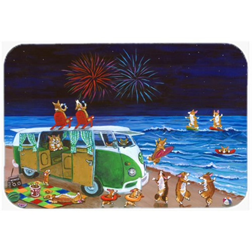 Carolines Treasures 7317MP Corgi Beach Party Volkswagon Bus Fireworks Mouse Pad Hot Pad & Trivet