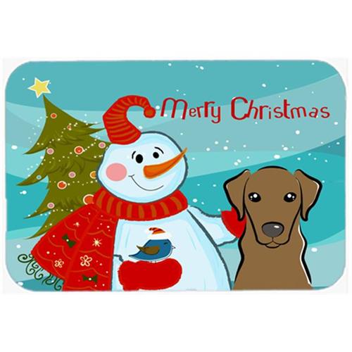 Carolines Treasures BB1854MP Snowman With Chocolate Labrador Mouse Pad Hot Pad & Trivet