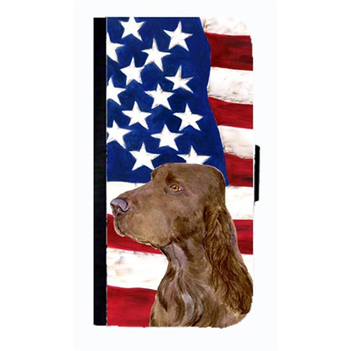Carolines Treasures SS4010NBGALAXYS4 USA American Flag With Field Spaniel Cell Phonebook Case Cover For Galaxy 4S