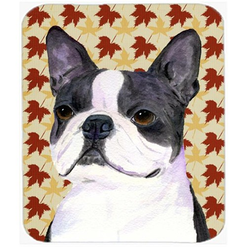 Carolines Treasures SS4340MP Boston Terrier Fall Leaves Portrait Mouse Pad Hot Pad Or Trivet