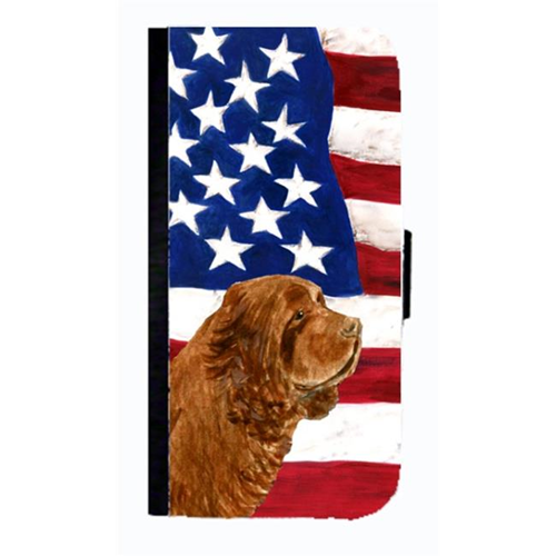 Carolines Treasures SS4037NBGALAXYS4 USA American Flag With Sussex Spaniel Cell Phonebook Case Cover For Galaxy 4S