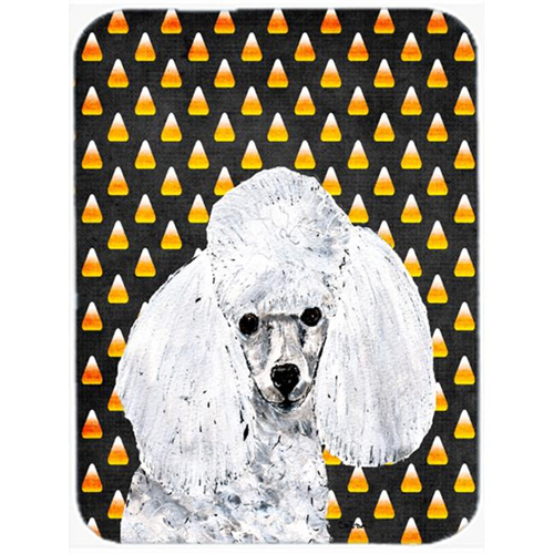 Carolines Treasures SC9653MP White Toy Poodle Candy Corn Halloween Mouse Pad Hot Pad Or Trivet 7.75 x 9.25 In.