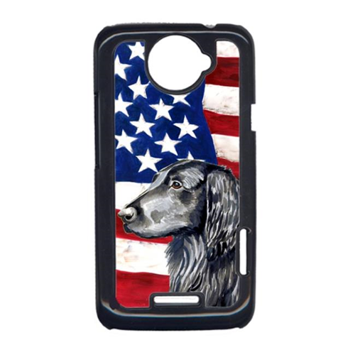 Carolines Treasures LH9021HTCONE USA American Flag With Flat Coated Retriever HTC One X Cell Phone Cover