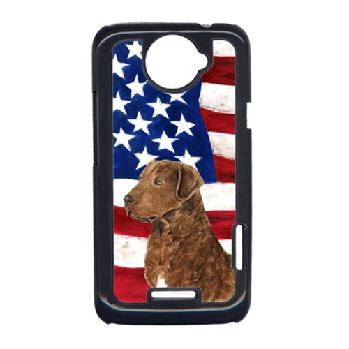 Carolines Treasures SS4016HTCONE USA American Flag With Curly Coated Retriever HTC One X Cell Phone Cover