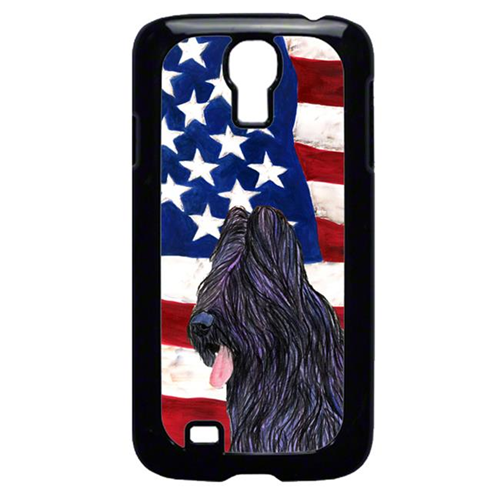 Carolines Treasures SS4052GALAXYS4 USA American Flag With Briard Galaxy S4 Cell Phone Cover