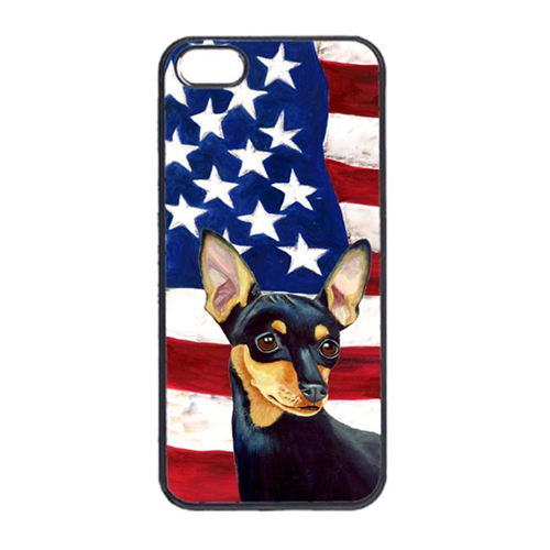 Carolines Treasures LH9004IP4 USA American Flag With Min Pin Iphone 4 Cover
