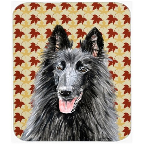 Carolines Treasures SC9238MP Belgian Sheepdog Fall Leaves Portrait Mouse Pad Hot Pad Or Trivet