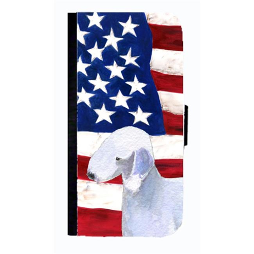 Carolines Treasures SS4045NBIP4 USA American Flag With Bedlington Terrier Cell Phone Case Cover For Iphone 4 Or 4S