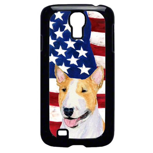 Carolines Treasures SS4023GALAXYS4 USA American Flag with Bull Terrier Cell Phone Cover GALAXY S4