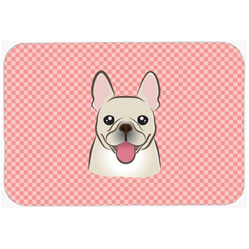 Carolines Treasures BB1238MP Checkerboard Pink French Bulldog Mouse Pad Hot Pad Or Trivet 7.75 x 9.25 In.