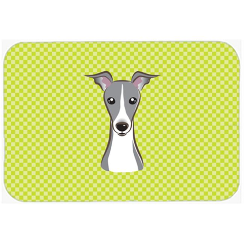 Carolines Treasures BB1298MP Checkerboard Lime Green Italian Greyhound Mouse Pad Hot Pad Or Trivet 7.75 x 9.25 In.