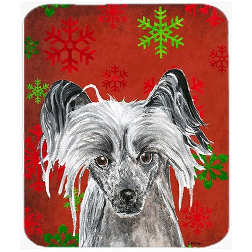 Carolines Treasures SC9592MP 7.75 x 9.25 in. Chinese Crested Red Snowflake Christmas Mouse Pad Hot Pad or Trivet