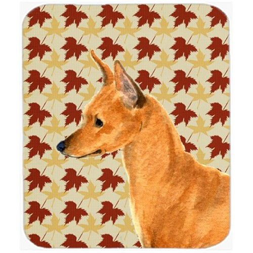 Carolines Treasures SS4390MP Min Pin Fall Leaves Portrait Mouse Pad Hot Pad Or Trivet