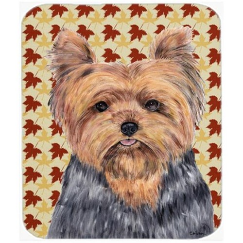 Carolines Treasures SC9228MP 9.5 x 8 in. Yorkie Fall Leaves Portrait Mouse Pad Hot Pad or Trivet