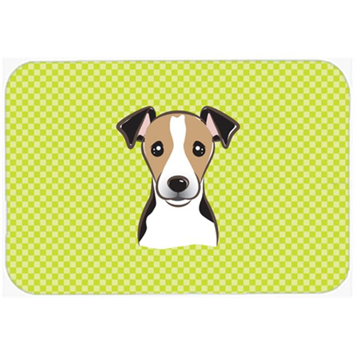 Carolines Treasures BB1323MP Checkerboard Lime Green Jack Russell Terrier Mouse Pad Hot Pad Or Trivet 7.75 x 9.25 In.