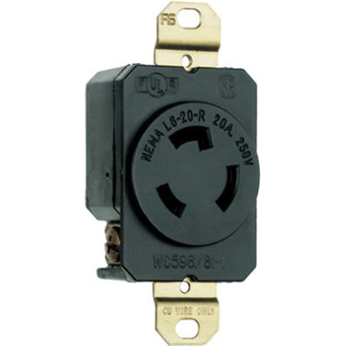 Pass & Seymour L620RCCV3 Locking Outlet 20A 250V Black