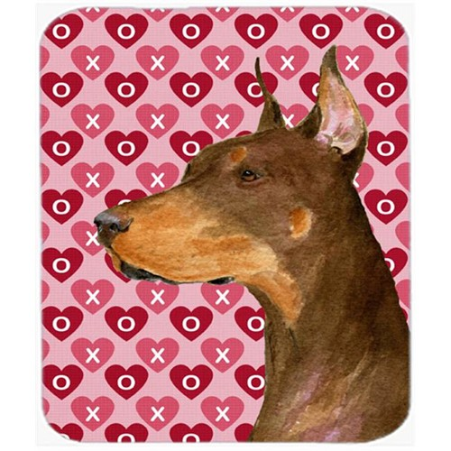 Carolines Treasures SS4468MP Doberman Hearts Love And Valentines Day Portrait Mouse Pad Hot Pad Or Trivet