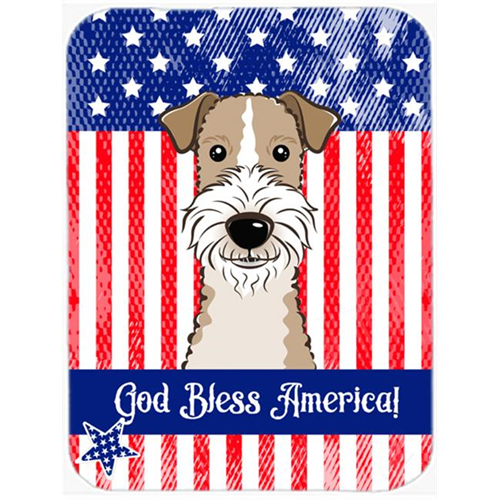 Carolines Treasures BB2177MP God Bless American Flag with Wire Haired Fox Terrier Mouse Pad Hot Pad or Trivet
