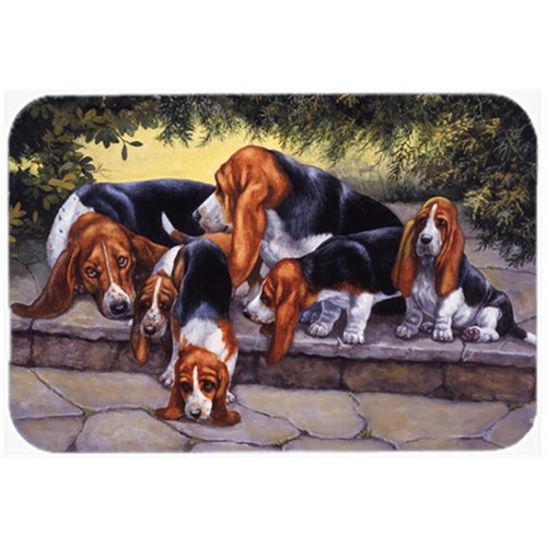 Carolines Treasures BDBA0276MP Basset Hound Puppies Momma & Daddy Mouse Pad Hot Pad or Trivet