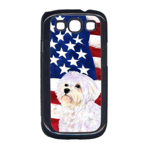 Carolines Treasures SS4043GALAXYS3 USA American Flag with Maltese Cell Phone Cover GALAXY S111