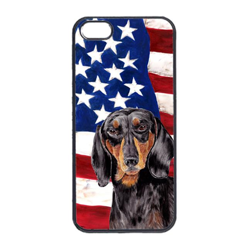 Carolines Treasures SC9003IP4 USA American Flag With Dachshund Iphone 4 Cover