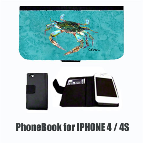 Carolines Treasures 8657-NBIP4 Crab on teal Cell Phonebook Cell Phone case Cover for IPHONE 4 or 4S