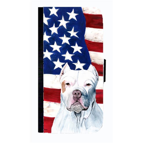 Carolines Treasures SC9026NBGALAXYS4 USA American Flag With Pit Bull Cell Phonebook Case Cover For Galaxy 4S