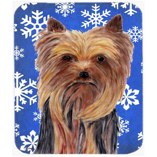 Carolines Treasures SC9365MP Yorkie Winter Snowflakes Holiday Mouse Pad Hot Pad or Trivet