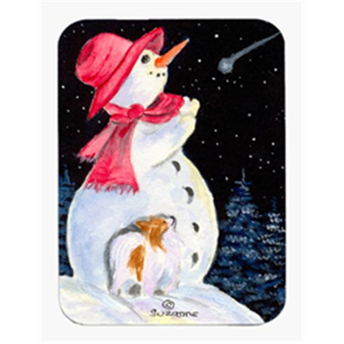 Carolines Treasures SS8793MP Snowman With Papillon Mouse Pad & Hot Pad Or Trivet