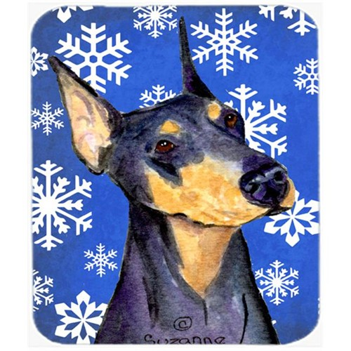 Carolines Treasures SS4633MP Doberman Winter Snowflakes Holiday Mouse Pad Hot Pad or Trivet
