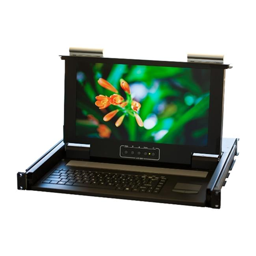 Norco Technologies KVM-01WS 19 In. 1U Rackmount 1 Port KVM Console LCD - PS 2 And USB Connector