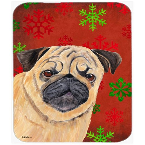 Carolines Treasures SC9411MP Pug Red And Green Snowflakes Holiday Christmas Mouse Pad Hot Pad Or Trivet