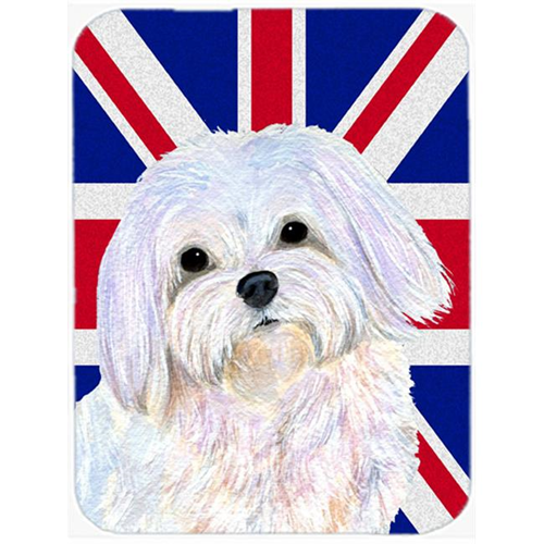 Carolines Treasures SS4924MP 7.75 x 9.25 In. Maltese With English Union Jack British Flag Mouse Pad Hot Pad Or Trivet