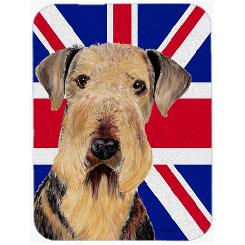 Carolines Treasures SC9830MP 7.75 x 9.25 In. Airedale With English Union Jack British Flag Mouse Pad Hot Pad Or Trivet