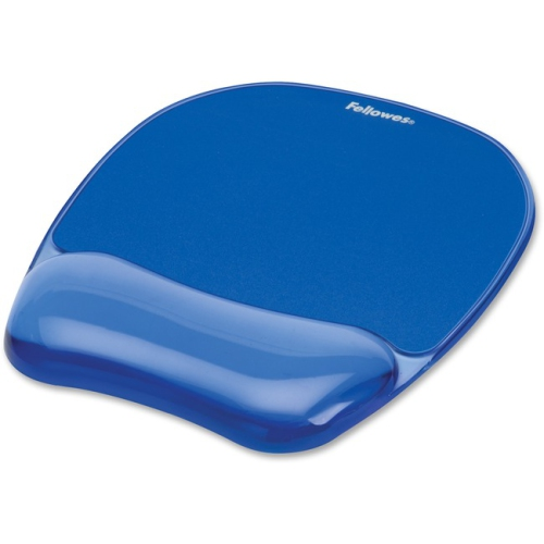 Fellowes 91141 Gel Crystals Mouse Pad with Wrist Rest Rubber Back 8 x 9-4 Blue