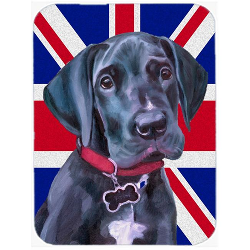 Carolines Treasures LH9600MP Black Great Dane Puppy With English Union Jack British Flag Mouse Pad Hot Pad & Trivet