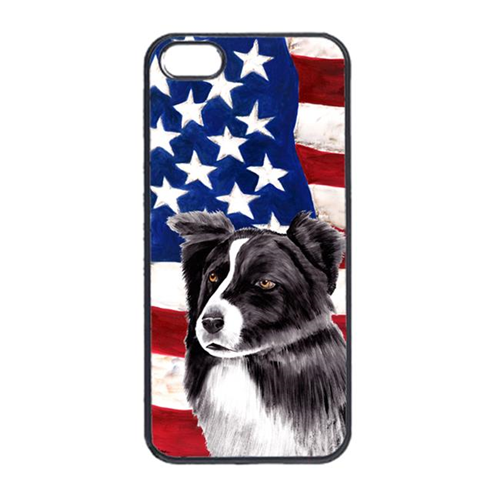 Carolines Treasures SC9009IP4 USA American Flag With Border Collie Iphone 4 Cover