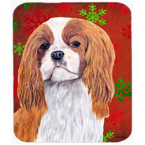 Carolines Treasures SC9434MP Cavalier Spaniel Red And Green Snowflakes Christmas Mouse Pad Hot Pad Trivet