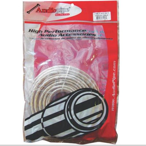 AUDIOP CABLE1225 12 Gauge 25ft Bagged Spool Speaker Wire - Clear