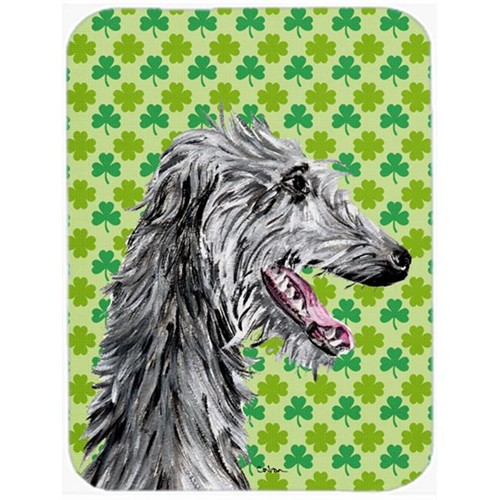 Carolines Treasures SC9741MP Scottish Deerhound Lucky Shamrock St. Patricks Day Mouse Pad Hot Pad Or Trivet 7.75 x 9.25 In.