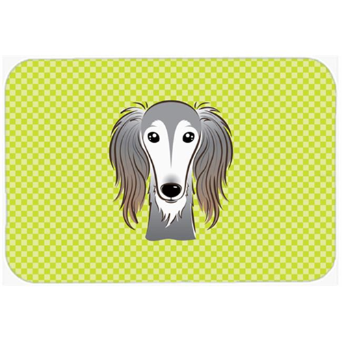 Carolines Treasures BB1291MP Checkerboard Lime Green Saluki Mouse Pad Hot Pad Or Trivet 7.75 x 9.25 In.