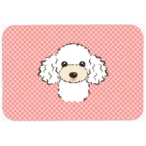 Carolines Treasures BB1257MP Checkerboard Pink White Poodle Mouse Pad Hot Pad Or Trivet 7.75 x 9.25 In.