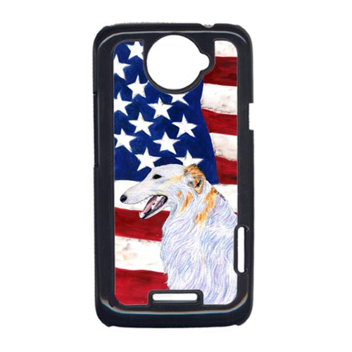Carolines Treasures SS4231HTCONE USA American Flag With Borzoi HTC One X Cell Phone Cover