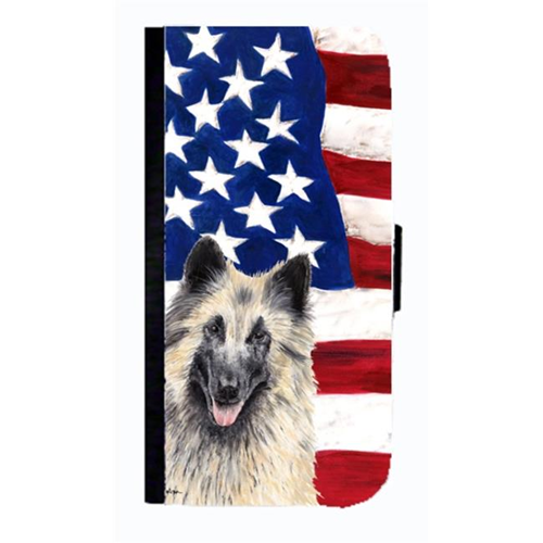 Carolines Treasures SC9116NBGALAXYS4 USA American Flag Belgian Tervuren Cell Phone Case Cover For Galaxy 4S