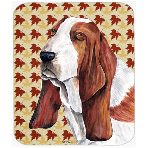 Carolines Treasures SC9212MP Basset Hound Fall Leaves Portrait Mouse Pad Hot Pad or Trivet